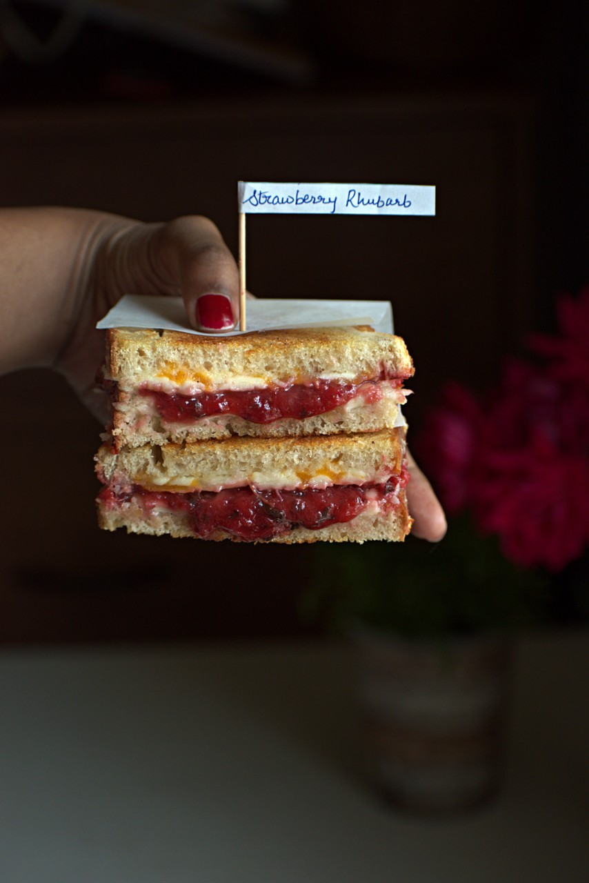 Rhubarb-Strawberry grilled cheese sandwiches